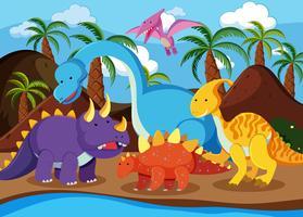 Flacher Dinosaurier in der Natur vektor