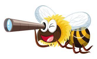 Biene, die durch Teleskop schaut vektor