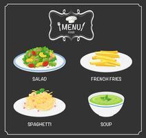 Verschiedene Gerichte auf der Speisekarte