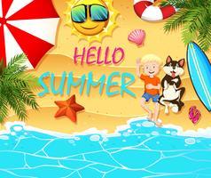 Sommar tema med pojke och hund på stranden vektor
