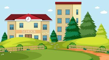 Schulgebäude Naturszene vektor