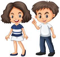 Söt pojke och tjej med gott ansikte