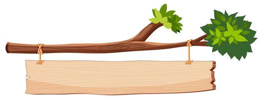 trädgren med träskylt