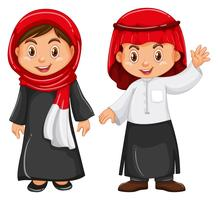 Pojke och tjej i Irag-outfit