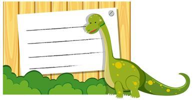 En dinosaur på anteckningsmall vektor