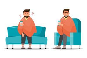 kranker mann sitzt erkältet im zimmer