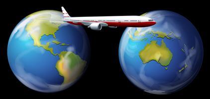 Flugzeug fliegt um die Welt