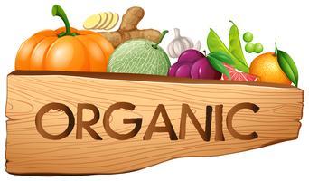 Bio-Schild mit Obst und Gemüse