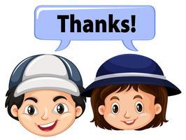 Jungen und Mädchen mit Wort danke vektor