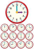 Eine Reihe von Uhrzeit und Uhrzeit vektor