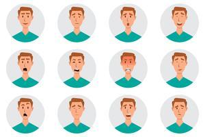 Set av manliga ansikts känslor. man emoji karaktär med olika uttryck vektor