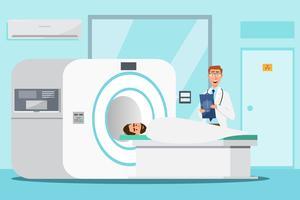 Doktorstellung und -mann, die sich für Röntgenstrahl mit MRI-Scanner-Maschine hinlegen vektor