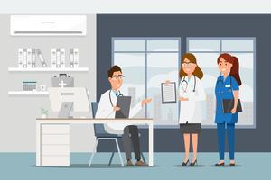 Medizinisches Konzept mit Doktor und Patienten in der flachen Karikatur an der Krankenhaushalle