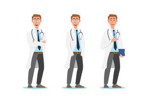 Sats av doktor tecknade tecken. Medicinsk personal lagkoncept