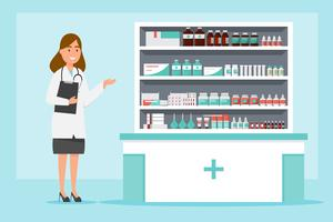 apotek med apotekare och klient i räknare