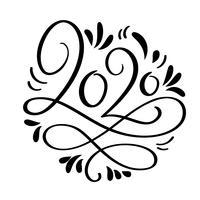 Hand gezeichneter Vektorbeschriftungskalligraphieschwarz-Zahltext 2020 Guten Rutsch ins Neue Jahr-Grußkarte. Weinlese-Weihnachtsillustrationsdesign