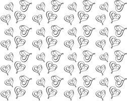 Seamless vektor mönster med kalligrafiska hjärtan. Prydnad för Alla hjärtans dag. Handritad illustration. Isolerade penselsträckor