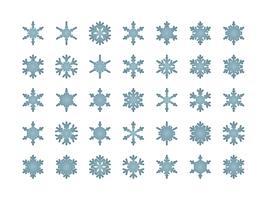 Snöflingor isolerade uppsättning