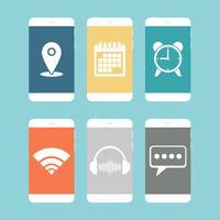 Smartphones mit verschiedenen Symbol flache Bauform