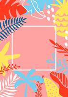 Sommar hälsningskort mall med tropiska löv på bakgrund och plats för text. Vektor illustration mall