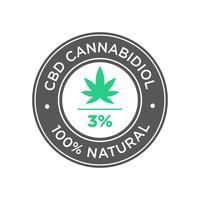 3 Prozent CBD Cannabidiol Oil-Symbol. 100 Prozent natürlich. vektor