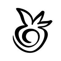 Jordgubbe handritad kontrast doodle ikon. Vector skiss Logo illustration av hälsosam bär - färsk rå jordgubbe för tryck, webb, mobil och infographics isolerad på vit bakgrund