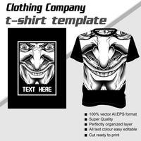 T-Shirt-Vorlage, voll editierbar mit dämonischen Vektor