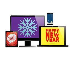 Elektronisches neues Jahr eingestellt vektor