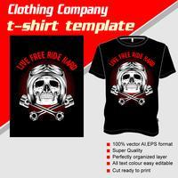T-Shirt Schablone, völlig editable mit Schädelsturzhelmvektor vektor