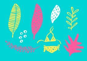 Tropisk samling för sommarstrandparty exotiska löv, ananas, palmer och frukter. Vektor design isolerade element på den vita bakgrunden