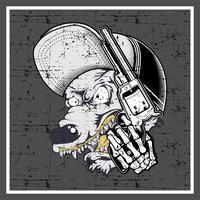 grunge stil varg bär hatt och håller pistol-vektor vektor