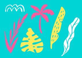Tropische Sammlung für exotische Blätter, Ananas, Palmen und Früchte des Sommerstrandfestes. Lokalisierte Elemente des Vektors Design auf dem weißen Hintergrund