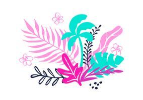 Tropisk samling för sommarstrandsfest exotiska löv, palmer och frukter. Vektor design isolerade element på den vita bakgrunden