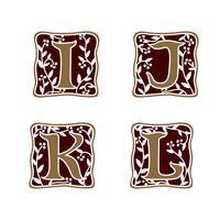 Dekoration Buchstabe I, J, K, L Logo-Design-Konzept-Vorlage vektor