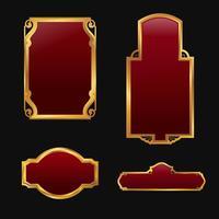 Aufkleber mit dekorativem rotem goldenem Rahmensammlungssatz 3D