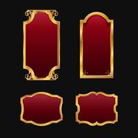 Etiketter med 3D dekorativa röda gyllene ramar samlingsset