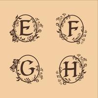 Dekoration Buchstabe E, F, G, H Logo-Design-Konzept-Vorlage vektor