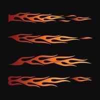 Feuerflammen im Tribal Style für Tattoo-, Fahrzeug- und T-Shirt-Deko-Design. Fahrzeuggrafiken, Streifen, Vinyl Ready-Sammlungssatz vektor