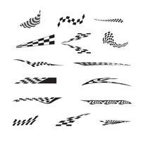 Vektor av rutig racing flagga splatters.