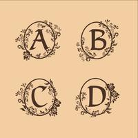 Dekoration Brev A, B, C, D logotyp design koncept mall