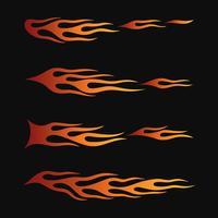 eldflammor i tribal stil för tatuering, fordon och t-shirt dekorationsdesign. Vehicle Graphics, Stripe, Vinyl Ready insamlingsuppsättning vektor