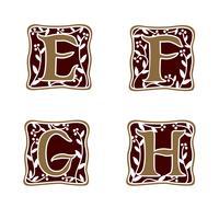 dekoration brev E, F, G, H logo design koncept mall vektor