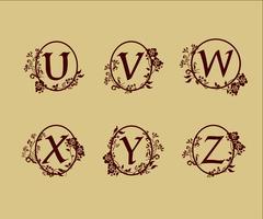 Dekoration Brev U, V, W, X, Y, Z logo designkoncept mall vektor