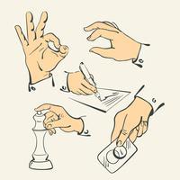 Handfingersammlung - Retrostilillustrationsvektor
