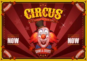 Vintage cirkusaffisch med clownhuvud vektor