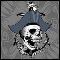 Schädel Pirat Hand Zeichnungsvektor