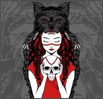 Native American Girl med Wolf Headdress Handling Skull -vector vektor