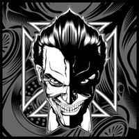 skalle demon huvud svart vit hand teckning vektor