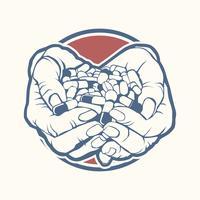 Två cupped händer som håller handfull, hög med färgglada piller, tabletter, medicin, skissstil vektor illustration