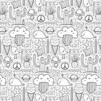 Muster mit Hand gezeichnetem Gekritzel-reizendem Hintergrund. Gekritzel lustig. vektor